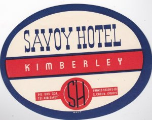 South Africa Kimberely Savoy Hotel Vintage Luggage Label lbl0514