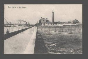 082695 LIGHTHOUSE in Port Said EGYPT Vintage PC