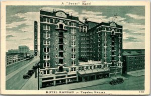Topeka, Kansas Postcard HOTEL KANSAN Street View Allis Press Linen 1938 Cancel