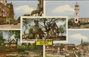 BURY, Greater Manchester, England, UK,  30-50s; 5-view postcard