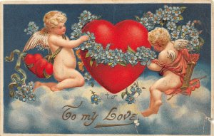 G14/ Valentine's Day Love Holiday Postcard c1910 Cupids Fantasy Heart 5