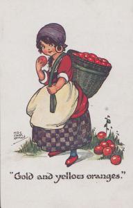 Girl Fruit Carrier Basket Oranges Apples Eating 1940s Cartoon Postcard