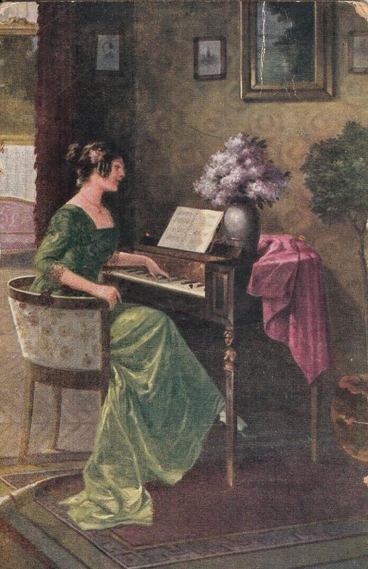 Art early postcard R. Kratky - Am Spinett woman & piccolo cabinet piano