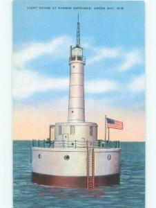 Unused Linen HARBOR ENTRANCE LIGHTHOUSE Green Bay Wisconsin WI E8032