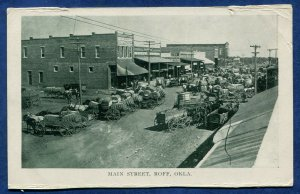 Roff Oklahoma ok Main Street horses carts cotton bales old postcard #2