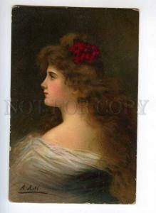 246582 Woman w/ Long Hair RED FLOWER by Angelo ASTI vintage PC