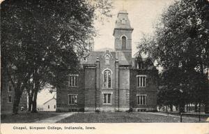 Indianola Iowa~Simpson College~Victorian Gothic Chapel~Buildings~1908 B&W PC