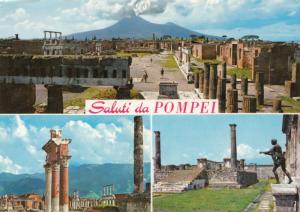 Saluti da POMPEI, multi view, 1969 used Postcard