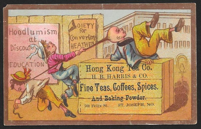 VICTORIAN TRADE CARDS (3) Hong Kong Tea 3 Scenes 'Solving the Chinese Problem'