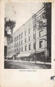 Malden Massachusetts~Auditorium~Porte Cochere~Telephone Pole c1910