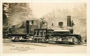 1920s San Francisco Mt Tamalpais Muir Woods Railroad locomotive RPPC Postcard