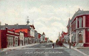 LPS73 AVOCA Iowa Main Street Town View Postcard