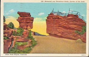 Colorado Springs CO - BALANCED and STEAMBOAT ROCKS Garden of the Gods, 1950s