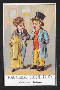 VICTORIAN TRADE CARD Naumkeag Clothing Two Men One Selling Coat to Other