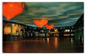 RIVERSIDE, Rhode Island ~ Alhambra Ballroom Crescent Park Chandeliers Postcard