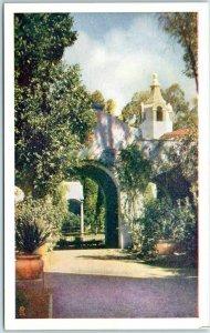 1935 San Diego Postcard Entrance to Patio Palace of Photography Balboa Park