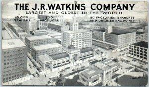 1939 Winona, Minnesota Postcard THE J.R. WATKINS COMPANY Factory Aerial View