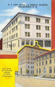 US Post Office & Federal Building, Albuquerque, NM Elks Club ca 1940s Postcard