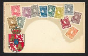 SPAIN Stamps on Postcard w/Shield Unused c1905