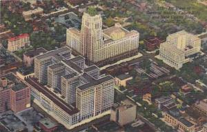 Michigan Detroit Air View Of General Motors Fisher Bldg And New Center Bldg