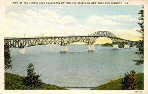 VT - Lake Champlain. Bridge between New York and Vermont