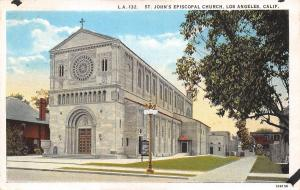 Los Angeles California~St Johns Episcopal Church~1920s Postcard