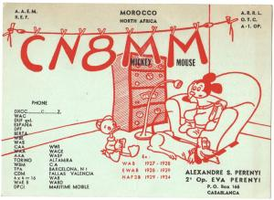 QSL, CN8MM, French Morocco, 1956, w/ Bureau stamp