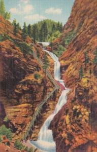 Colorado Pikes Peak Region Seven Falls South Cheyenne Canon 1948 Curteich