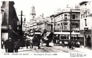 Trams In Southgate Street Bath Post Victorian Tram Horse & Cart Bus Postcard