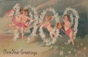 NEW YEAR, PU-1908; 1909 in flowers with cherubs, PFB 7987