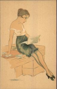 Italy Art Deco Nude Woman Artist Calderara Series 3241 #3 c1910 Postcard