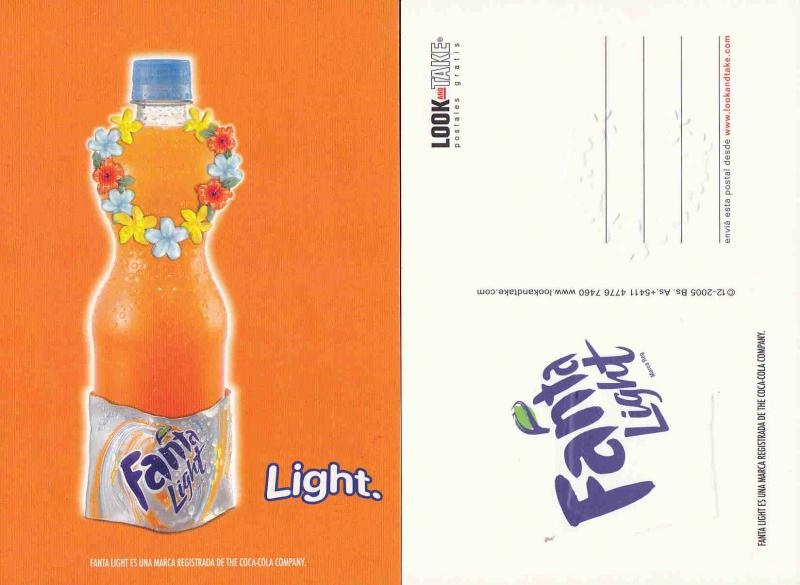 ARGENTINA FANTA LIGHT ADVERTISING CARD COCA COLA AAD2133