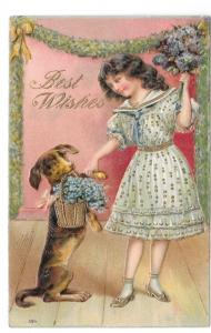 Best Wishes Girl Dog Basket of Flowers Vintage 1907 Postcard