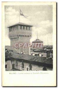 Old Postcard Milano I primi restauri al Castello Sforzesco