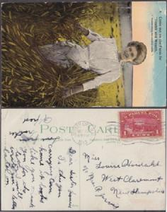 PRETTY GIRL STANDING IN FIELD ... PARCEL POST STAMP used as postage 1913