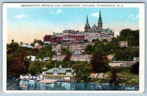 GEORGETOWN HEIGHTS & COLLEGE WASHINGTON DC*BOATHOUSE*REYNOLDS POSTCARD 1920's