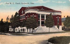 Bartlesville Oklahoma First ME Church Street View Antique Postcard K40289