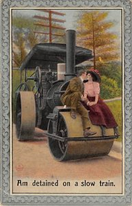 Farming Equipment Post Card Man and Woman Kissing on a Steam Roller Unused
