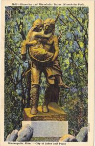 Hiawatha and Minnehaha Statue, Minnehaha Park, MINNEAPOLIS, Minnesota, 30-40's