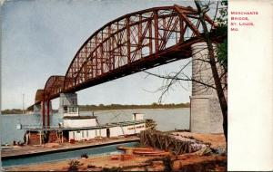 St Louis Missouri~Thomas Parker Paddlewheel Steamer Under Merchants' Bridge~1910