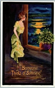Vintage Artist-Signed COBB SHINN Postcard Someone Thinks of Someone c1910s