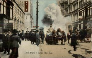 FDNY New York City Steamer Fire Engine Horses in Blankets c1910 Postcard
