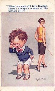 F92/ Artist Signed Postcard c1910 D McGill Comic Crying Child Woman 16