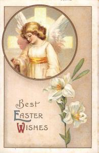 Best Easter Wishes Angel Religious Clapsaddle Antique Postcard K72494