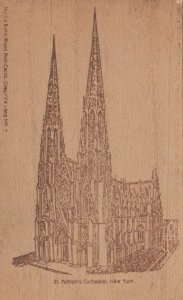 NEW YORK CITY, 1907 ; St. Patrick's Cathedral ; Wooden postcard