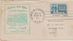 FIRST TRIP HIGHWAY POST OFFICE between Baltimore, Md & Washington / COVER 1948