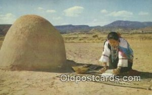 Indian Woman Grinding Corn Indian Unused