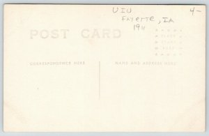 Fayette IA~Upper Iowa University~2 Fellows~3 Kids~Football? Bleachers~1911 RPPC