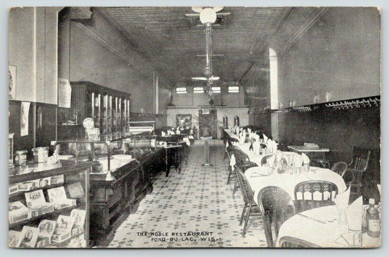 Fond du Lac Wisconsin~Noble Restaurant Interior~Cigar Box Counter~1909 B&W PC