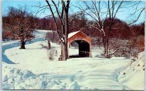 Columbiana County Ohio Postcard BRIEF BUCKEYE BRIDGE Covered Bridge Winter Scene